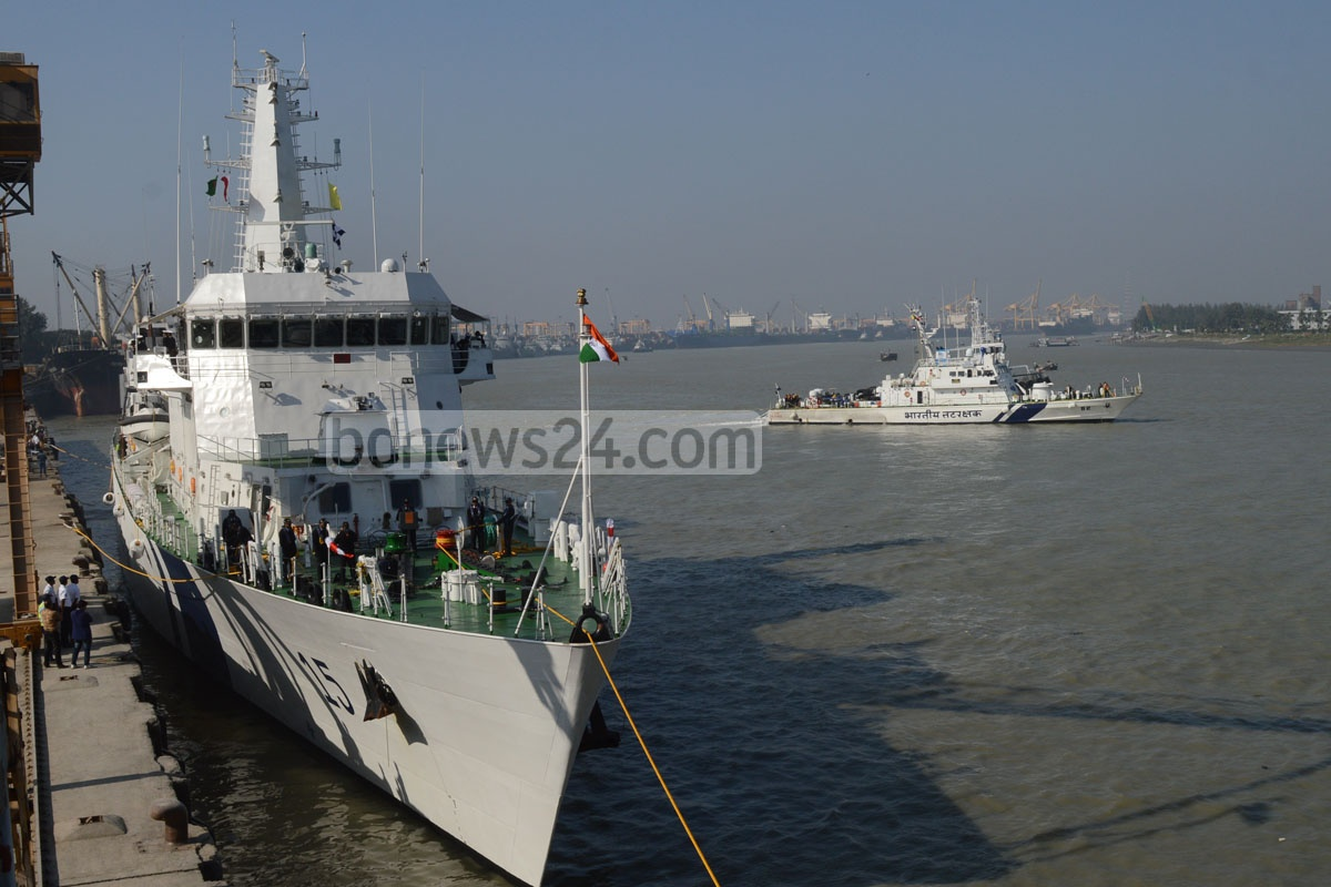 Indian Coast Guard ships, ICGS Shaunak and Rajshree arrived Chittagong for a five-day goodwill visit on Monday. Photo: suman babu