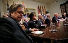 File Photo: Former White House Chief Strategist Stephen Bannon (L) attends a meeting between US President Donald Trump and congressional leaders to discuss trade deals at the at the Roosevelt room of the White House in Washington US, Feb 2, 2017. Reuters