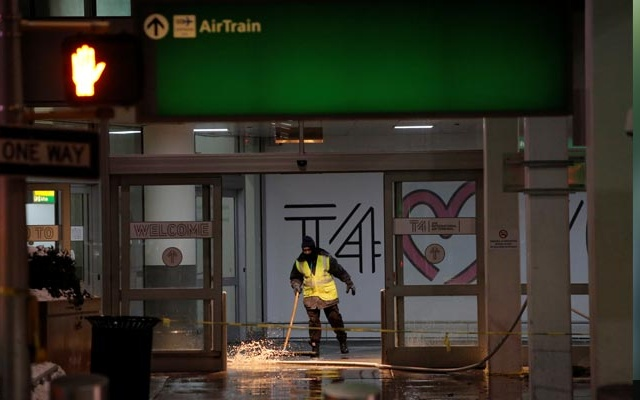 NY airport terminal flooded as brutal cold grips US East Coast