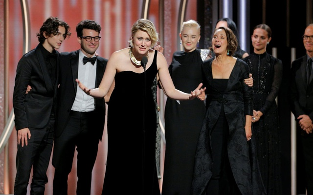 Greta Gerwig director of Lady Bird accepts the award for Best Motion Picture Comedy or Musical at the 75th Golden Globe Awards in Beverly Hills, California, US Jan 7, 2018. Paul Drinkwater/ NBC Handout via Reuters