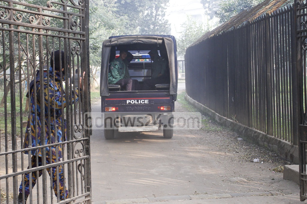 A prison van is carrying two war crime accused of Maulvibazar to the International War Crimes Tribunal for sentencing on Wednesday. Photo: asif mahmud ove
