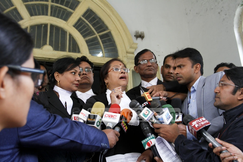 International War Crimes Tribunal prosecutor Tureen Afroz speaks to the media after the tribunal passed the verdict in Maulvibazar war crimes case on Wednesday. Photo: asif mahmud ove