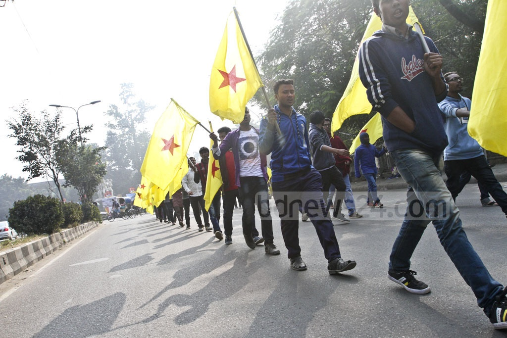 Chhatra Moitree activists take out a procession on the Dhaka University campus on Thursday to mark the 14th council of the leftist student organisation.