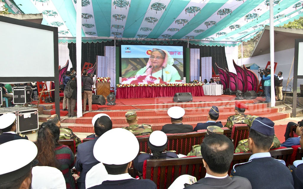Prime Minister Sheikh Hasina inaugurated the third National Development Fair through video conferencing on Thursday. Photo: PID