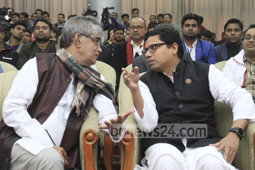 State Minister Zunaid Ahmed Palak gestures as he speaks with Posts, Telecommunications and IT Minister Mustafa Jabbar at the inauguration of the 'Smartphone and Tab Expo 2018' at the Bangabandhu International Conference Centre on Thursday. Photo: Abdullah Al Momin