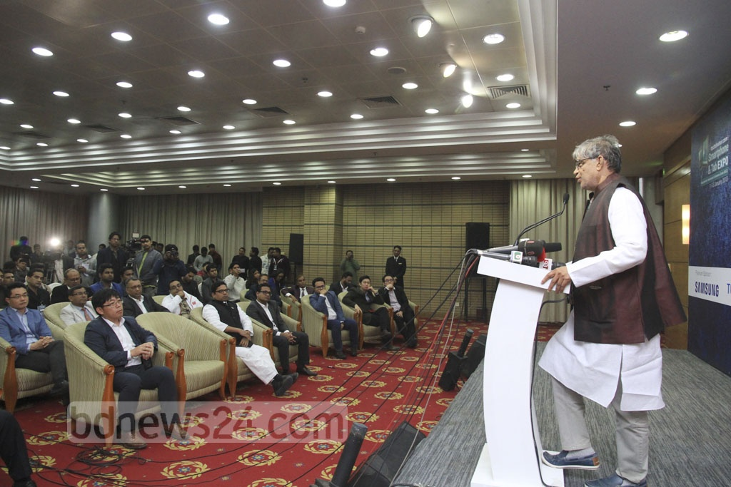 Posts, Telecommunications and IT Minister Mustafa Jabbar addresses the inauguration of the 'Smartphone and Tab Expo 2018' at the Bangabandhu International Conference Centre on Thursday. Photo: Abdullah Al Momin