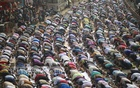 Muslims offer Jum'a prayers on the opening day of Biswa Ijtema on the bank of the Turag river in Tongi on Friday.