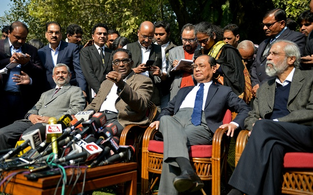 (From left) Justices Kurian Joseph, Jasti Chelameswar, Ranjan Gogoi and Madan Lokur address the media at a news conference in New Delhi, India, Jan 12, 2018. Reuters