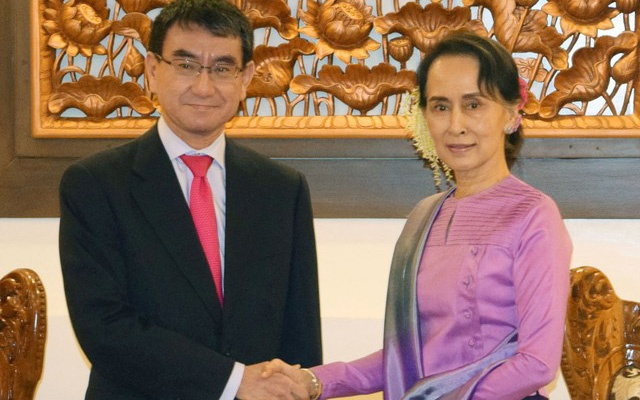 Japan's Foreign Minister Taro Kono shakes hands with Myanmar's leader Aung San Suu Kyi before their talks in Naypyidaw Myanmar in this
