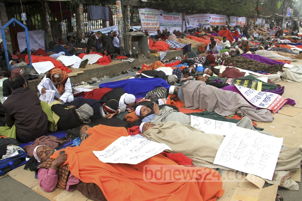Ebtedayee madrasa teachers continue the fifth day of a hunger strike to demand the nationalisation of their educational institutions, at the National Press Club on Saturday.