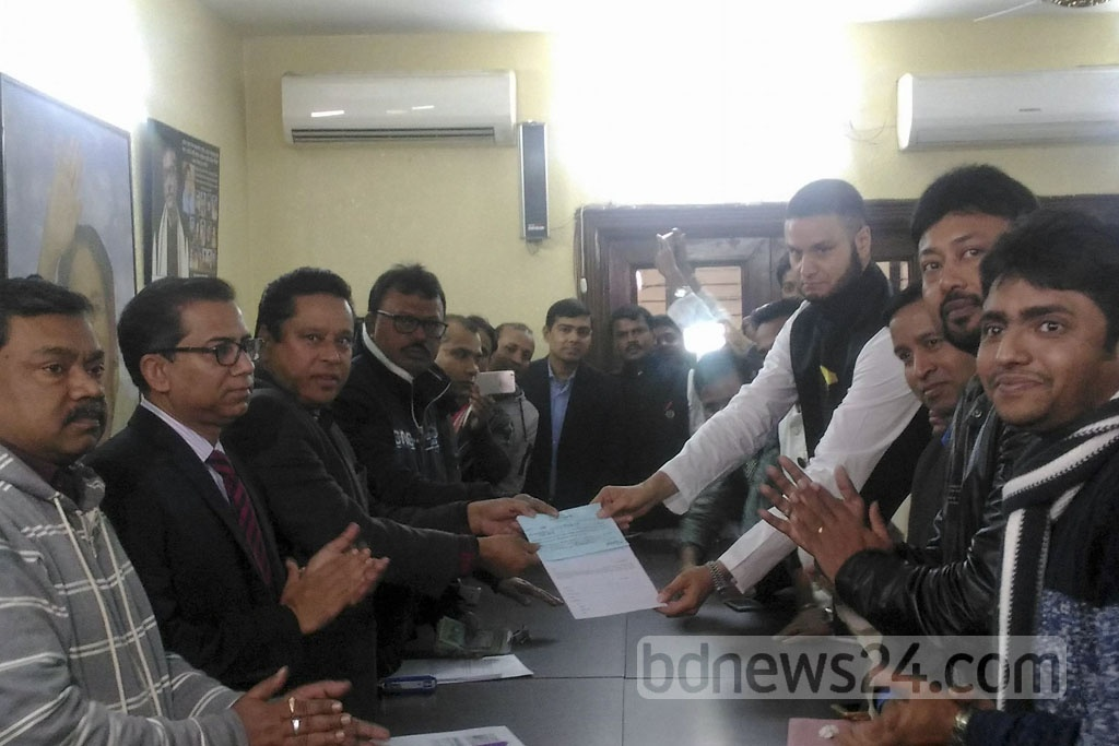 Businessman Adam Tamizi Haque picks up a candidacy form for the Awami League nomination in the upcoming Dhaka North City Corporation mayoral by-polls.