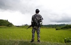 A Myanmar soldier stands near Maungdaw, north of Rakhine state, Myanmar Sept 27, 2017. Reuters