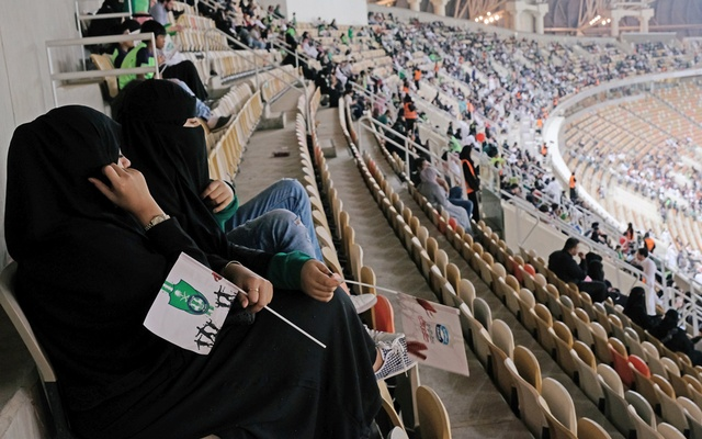 Saudi women watch the soccer match between Al-Ahli against Al-Batin at the King Abdullah Sports City in Jeddah, Saudi Arabia Jan 12, 2018. ReutersWomen attend Saudi Arabia football match