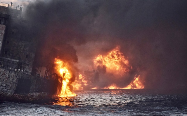 Iranian oil tanker Sanchi is seen engulfed in fire in the East China Sea, in this January 13, 2018 picture provided by Shanghai Maritime Search and Rescue Centre and released by China Daily. China Daily via Reuters