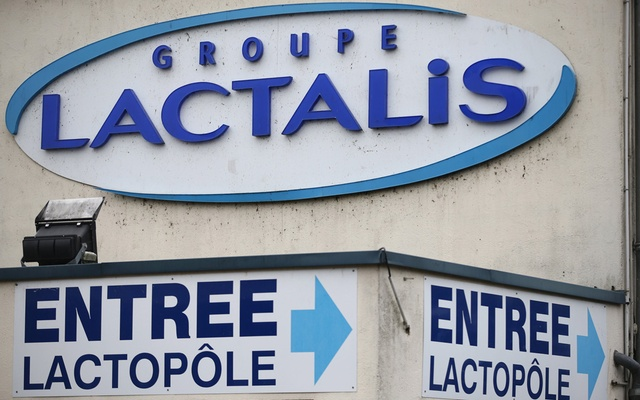The logo of Lactalis Group is seen at the entrance of the French dairy group Lactalis headquarters in Laval, western France, Jan 12, 2018. Reuters