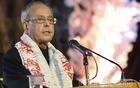 Former Indian President Pranab Mukherjee addressing the closing ceremony of the International Bengali Literary Conference on Monday at the Bangla Academy in Dhaka .