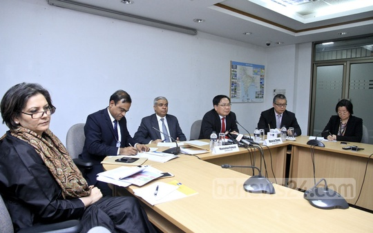 Asian Development Bank Vice-President Wencai Jhang speaks at a media briefing on Bangladesh's economy at its offices in Dhaka's Sher-e-Bangla Nagar on Thursday. He came to Dhaka to attend the Bangladesh Development Forum 2018. Photo: Abdullah Al Momin