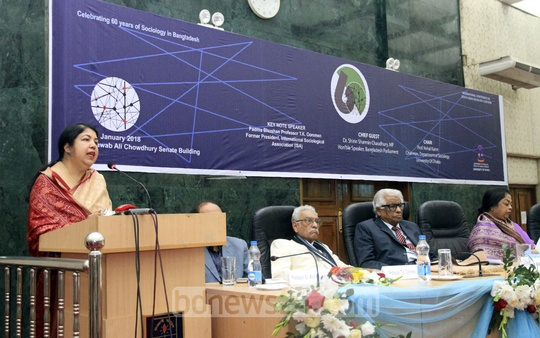 Speaker Shirin Sharmin Chaudhury addresses the inauguration of a two-day international conference at Dhaka University on Friday marking 60 years of the Department of Sociology. Photo: Abdullah Al Momin