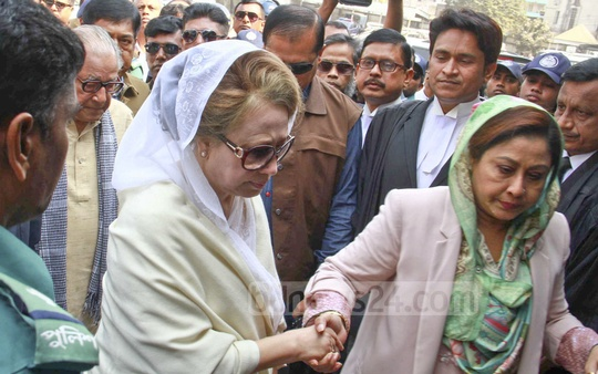 BNP Chairperson Khaleda Zia arrives in Old Dhaka on Wednesday to appear in a hearing by a special court on a graft case against her.