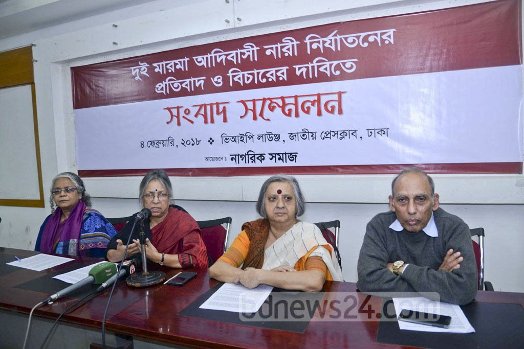 Citizens' platform 'Nagorik Samaj', which describes it self as a non-political social organisation, held a media briefing over the rape of two Marma girls in the hill tract district of Rangamati. Rights activist Sultana Kamal is seen addressing the media in this photo taken on Sunday from the National Press Club in Dhaka.