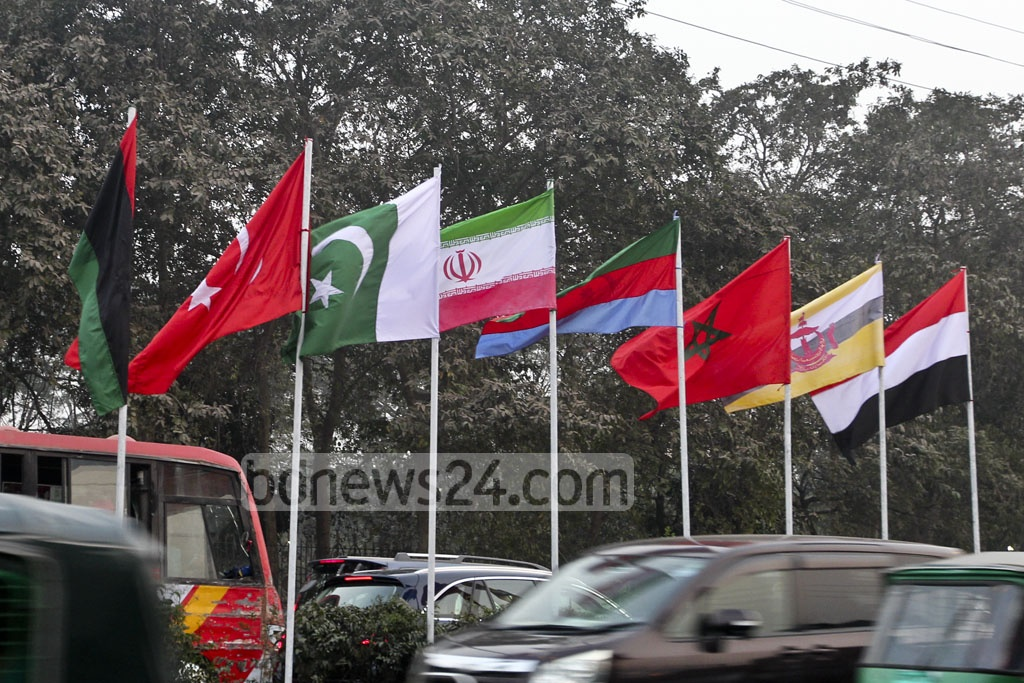 A Pakistani national flag is flying upside down, with the crescent moon over the star, in front of the Prime Minister's Office in Dhaka on Monday. The authorities have hoisted national flags of the member states of Organisation of Islamic Countries or OIC in key streets to mark the 10th conference of the tourism ministers of these countries. Photo: Abdullah Al Momin