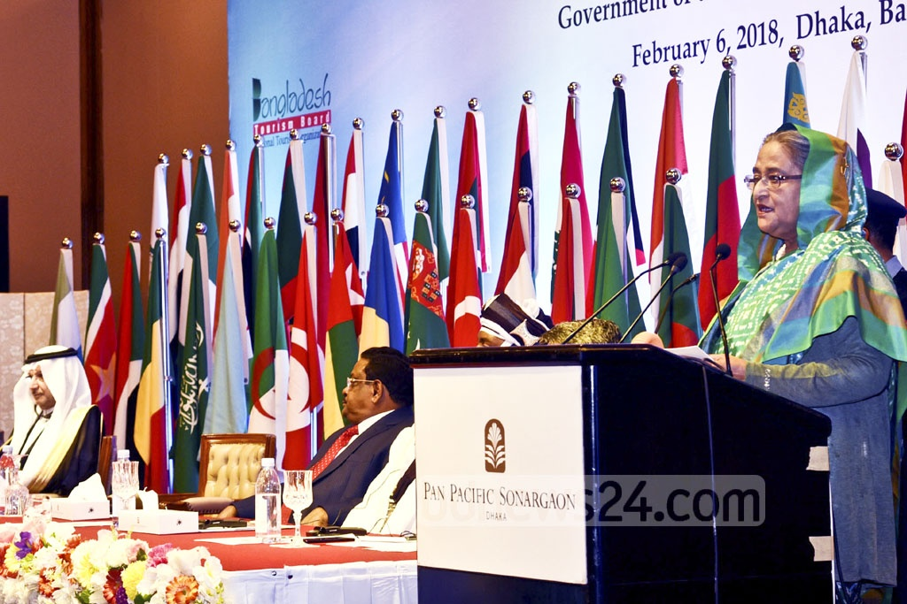Prime Minister Sheikh Hasina addresses the inaugural ceremony of '10th Session of the Islamic Conference of Tourism Minister' at a Dhaka hotel on Tuesday.