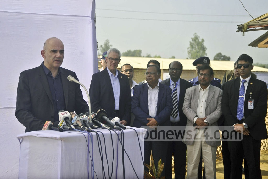 Swiss President Alain Berset ​addressing a press conference after visiting Kutupalong​​ Rohingya refugee camp ​in Cox's Bazar ​on Tuesday.