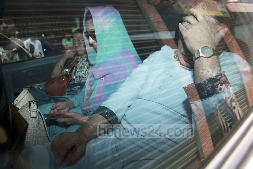 Four members of Khaleda Zia's family went to Old Dhaka's Nazimuddin Road to meet the BNP chairperson in jail on Friday.
