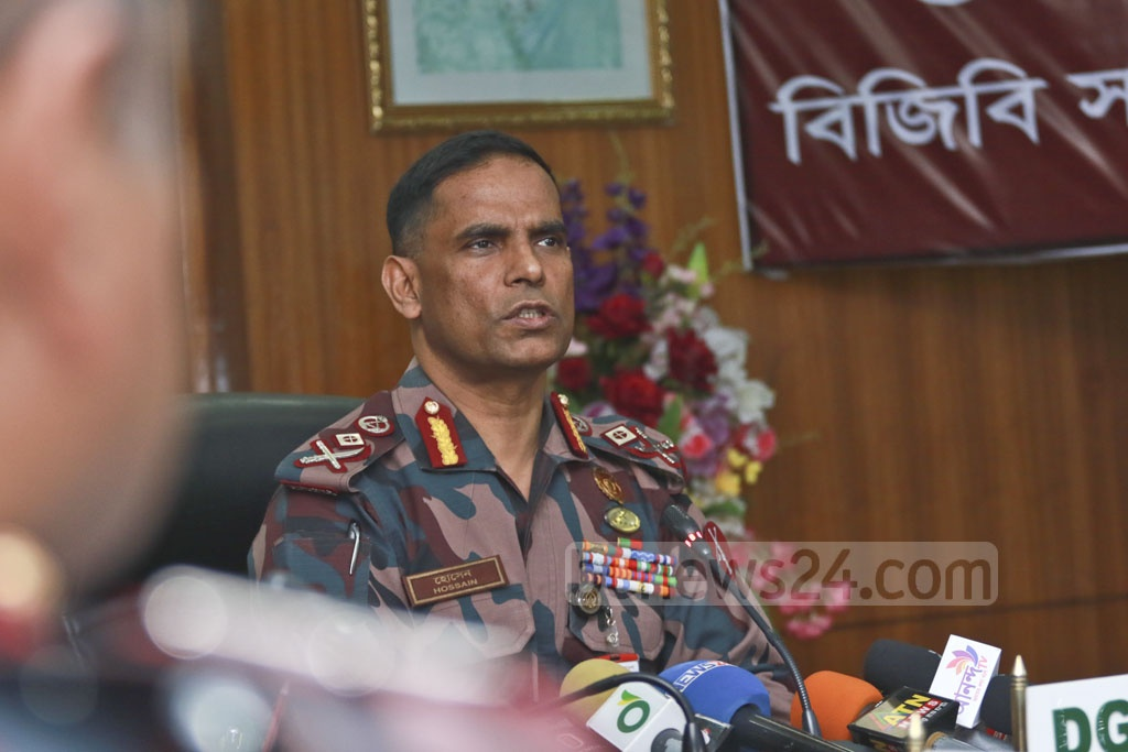BGB Director General Abul Hossain speaks at the organisation's headquarters at the Peelkhana on Sunday. Photo: Abdullah Al Momin