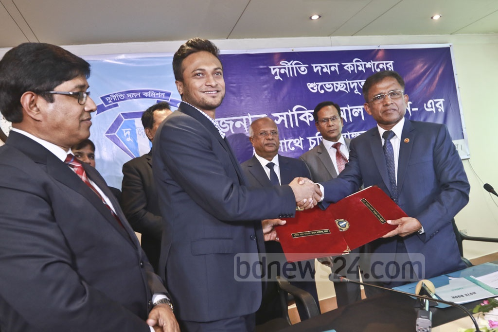 Bangladeshi star cricketer Shakib Al Hasan is announced as an Anti-Corruption Commission goodwill ambassador on Sunday. Photo: Abdullah Al Momin