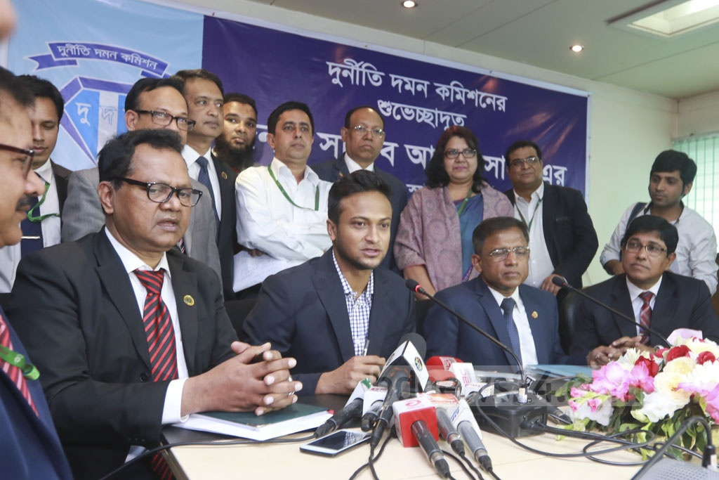 Bangladesh star cricketer Shakib Al Hasan at the Anti-Corruption Commission offices on Sunday after joining the organisation as a goodwill ambassador. Photo: Abdullah Al Momin