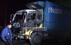 Covered van set on fire in Feni