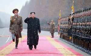 North Korean leader Kim Jong Un salutes during a visit to the Ministry of the People's Armed Forces on the occasion of the new year, in this undated photo released by North Korea's Korean Central News Agency (KCNA) on Jan 10, 2016. KCNA via Reuters
