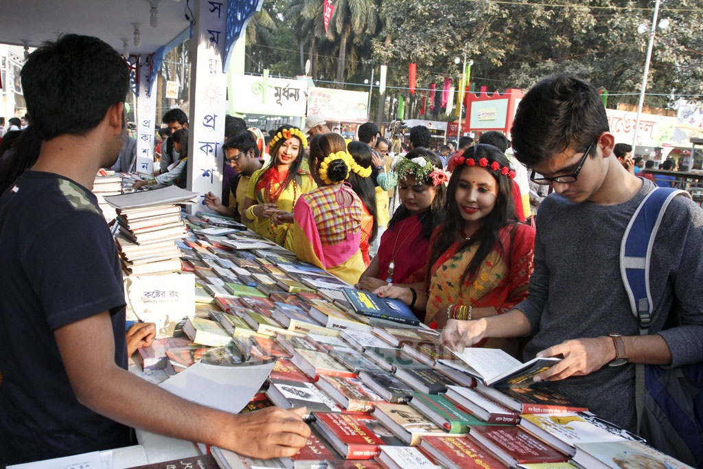 The book fair enjoyed many more visitors on the first day of Falgun than on other days. Photo: asif mahmud ove