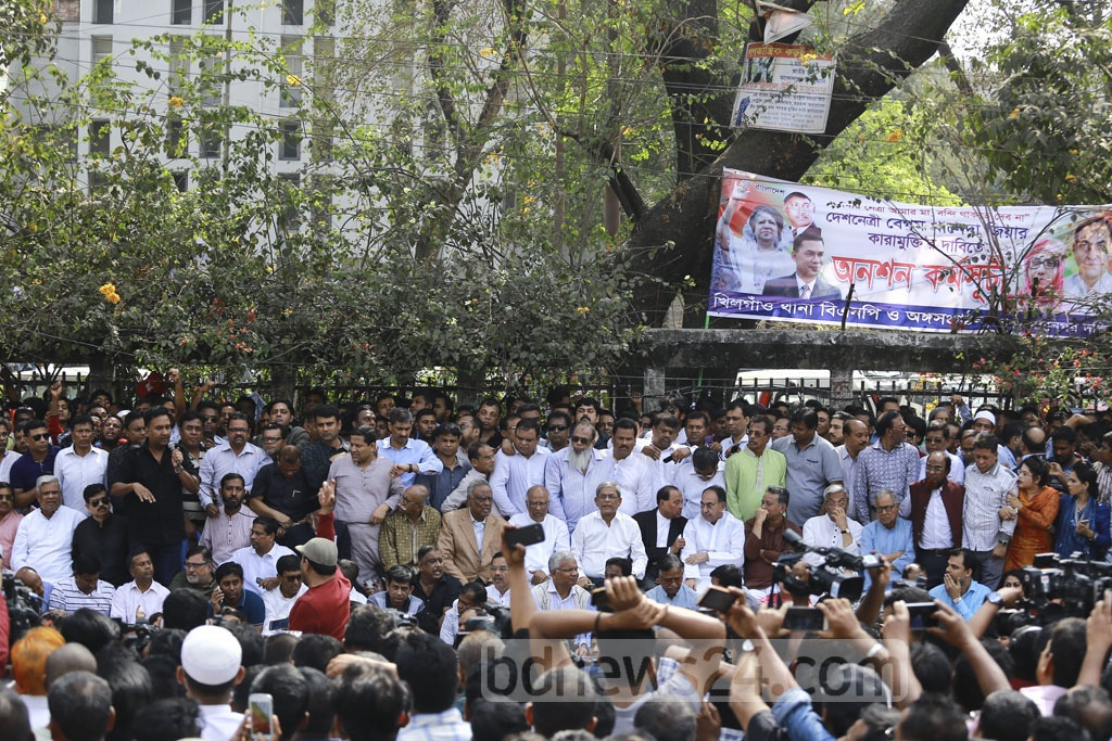 As part of its protests demanding party chief Khaleda Zia's release, the BNP on Wednesday went for a hunger strike in front of the National Press Club in Dhaka. Photo: Mahmud Zaman Ovi
