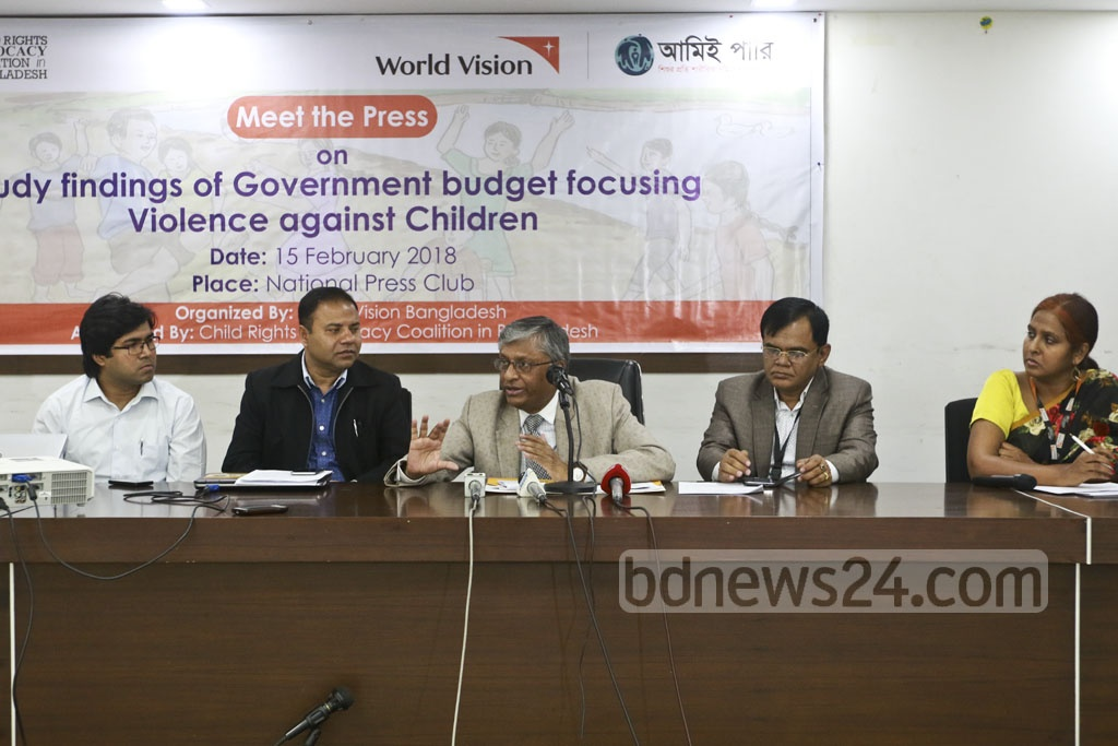 National Human Rights Commission Chairman Kazi Reazul Hoque addresses an event by World Vision on 'Findings of government budget focusing: Violence against Children' on Thursday at the National Press Club. Photo: Abdullah Al Momin