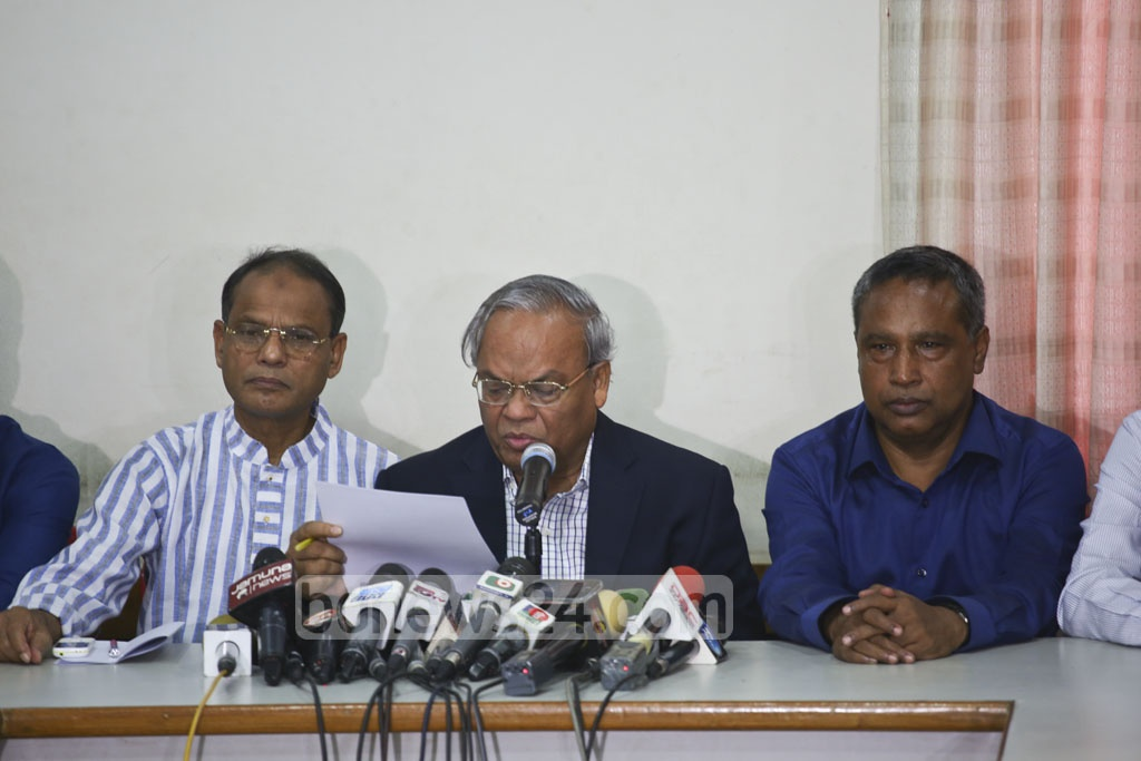 Senior Joint Secretary General of BNP Ruhul Kabir Rizvi addressing a press conference at the party's Naya Paltan office on Friday. The party will hold a rally in the city on Feb 22 to protest against Khaleda Zia's jailing in a corruption case. Photo: Mahmud Zaman Ovi