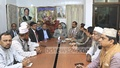 Jatiya Party Chairman HM Ershad addresses a meeting at his party office in Banani on Sunday. Photo: Abdullah Al Momin
