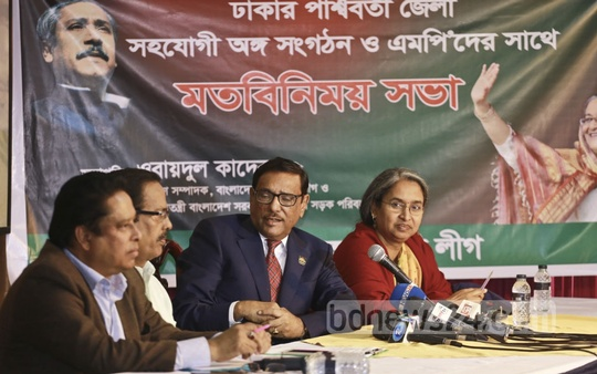 Awami League General Secretary Obaidul Quader briefs the media in Dhaka on Sunday on his meeting with the party's district leaders and front organisations. Photo: Mahmud Zaman Ovi