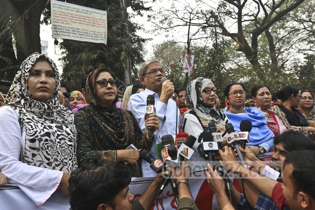 BNP Secretary General Mirza Fakhrul Islam Alamgir speaks at a Bangladesh Jatiyatabadi Mohila Dal demonstration for the release of Khaleda Zia in front of the National Press Club in Dhaka on Monday. Photo: Abdullah Al Momin