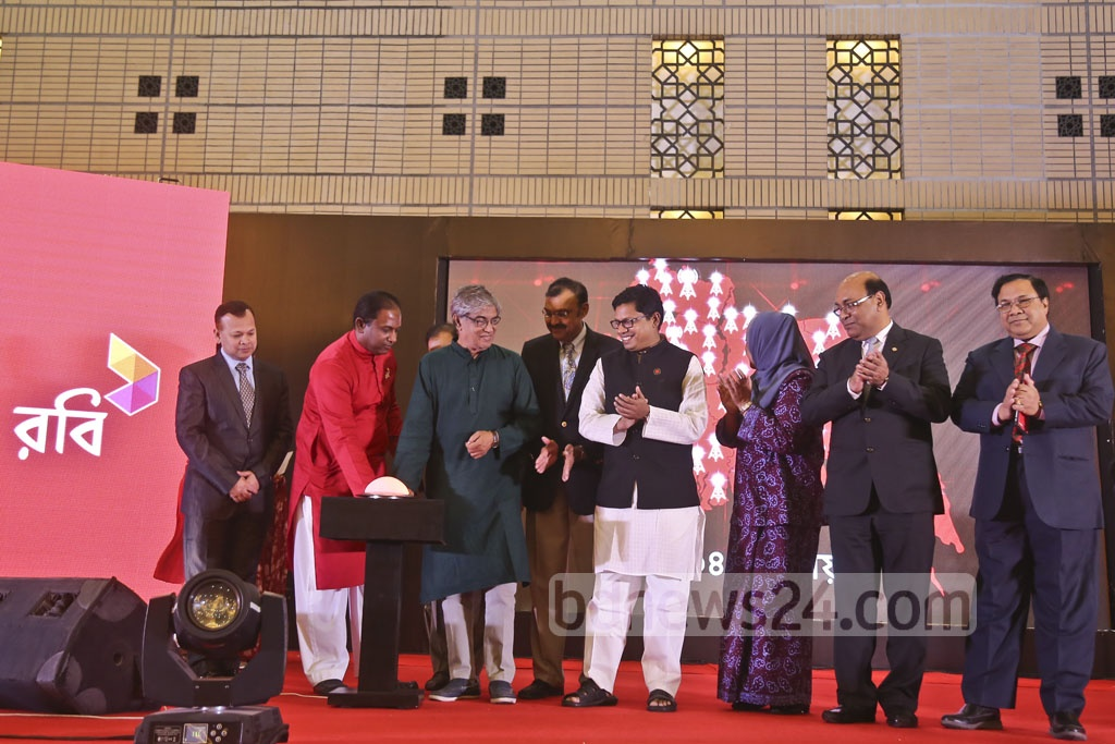Telecom and ICT Minister Mustafa Jabbar officially launched mobile operator Robi's 4G services during a ceremony on Tuesday at the Bangabandhu International Conference Centre. Photo: Mahmud Zaman Ovi