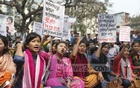 Activists hold a demonstration in front of the National Press Club in Dhaka on Thursday to demand punishment to the rapists of two Marma girls in Rangamati's Bilaichhori.
