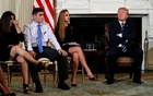 Parent Melissa Blank (L) and Marjory Stoneman Douglas High School shooting surviving students Jonathan Blank (2nd L) and Julia Cordover (2nd R) attend with other survivors and the families of victims a listening session held by US President Donald Trump to discuss school safety and shootings, at the White House in Washington, US, Feb 21, 2018. Reutres