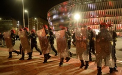 General view of riot police outside the stadium before the match of Europa League Round of 32 Second Leg between Athletic Bilbao and Spartak Moscow - San Mames, Bilbao, Spain, Feb 22, 2018. Reuters