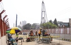 Construction workers work on the metro rail project in Mirpur's Taltala. Photo: asif mahmud ove