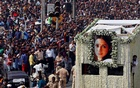 The body of Bollywood actress Sridevi is carried in a truck during her funeral procession in Mumbai, India, February 28, 2018. Reuters
