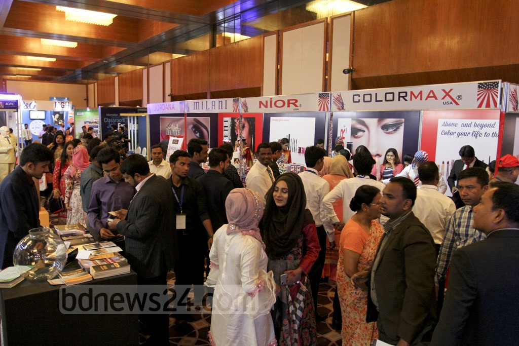 Visitors browse the stalls at the three-day 25th US Trade Show in the capital's Sonargaon Hotel on the opening day on Thursday.