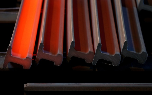 Freshly laminated rails are seen during the cooling process at the Tata Steel factory in Hayange, Eastern France, Sep 25, 2013. Reuters