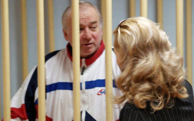 This August 2006 photo shows Sergei Skripal, a former colonel of Russia's GRU military intelligence service, inside the defendants' cage as he attends a hearing at the Moscow military district court, Russia Aug 9, 2006. Reuters