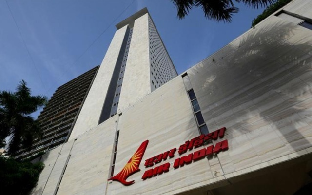 The Air India logo is seen on the facade of its office building in Mumbai, India, July 7, 2017. Reuters